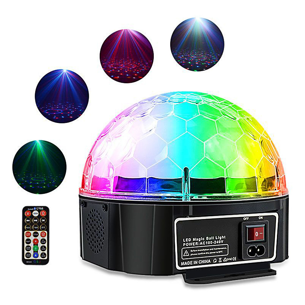 Bluetooth LED Disco Light 9 Colors Stage Lighting Effect DJ Club Bluetooth Speaker 3 Modes Sound Control Magic Ball Light bowknot cat style keychain w white led light sound effect grey pink 3 x ag10
