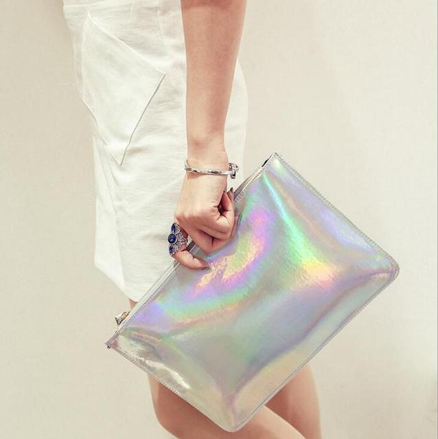 2017 Hot Women Hologram Laser Clutch Bag Girl's Laser Silver  Make-Up Handbag Mini Bag Purse Clutch Handbag Wallet Bag bolsa