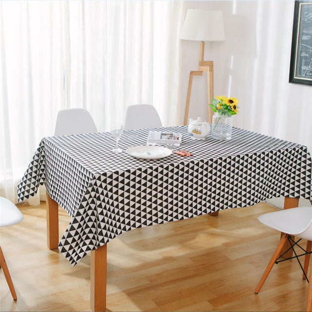 Nordic Modern Minimalist Style Black White Triangular Pattern Tablecloth Simple Cotton Linen Table Background Dustproof Cover