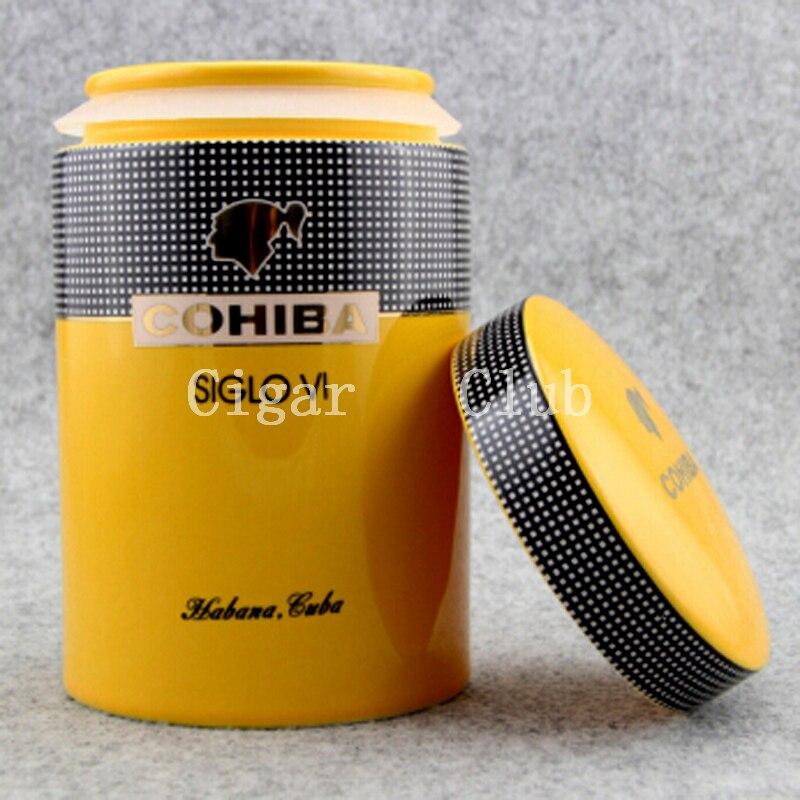 COHIBA Gadget classique jaune cylindrique SIGLO VI porcelaine brillante Tube à cigares hermétique en céramique pot cave