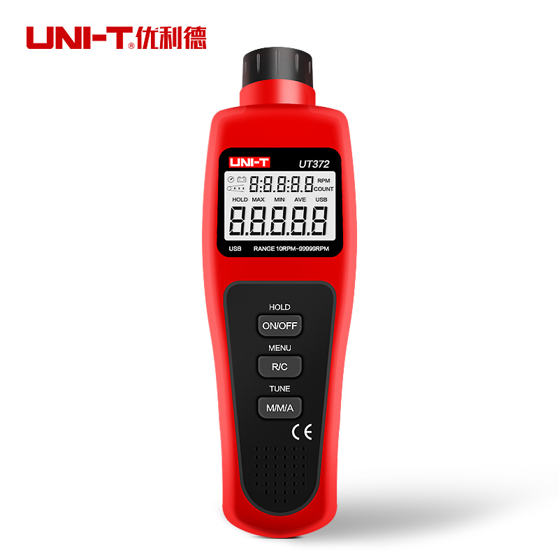 UNI-T UT372 Não-contato Tacômetros USB Interface 10-Display LCD Monitor de Velocidade 99999 RPM AVG/MAX/ MIN Modo