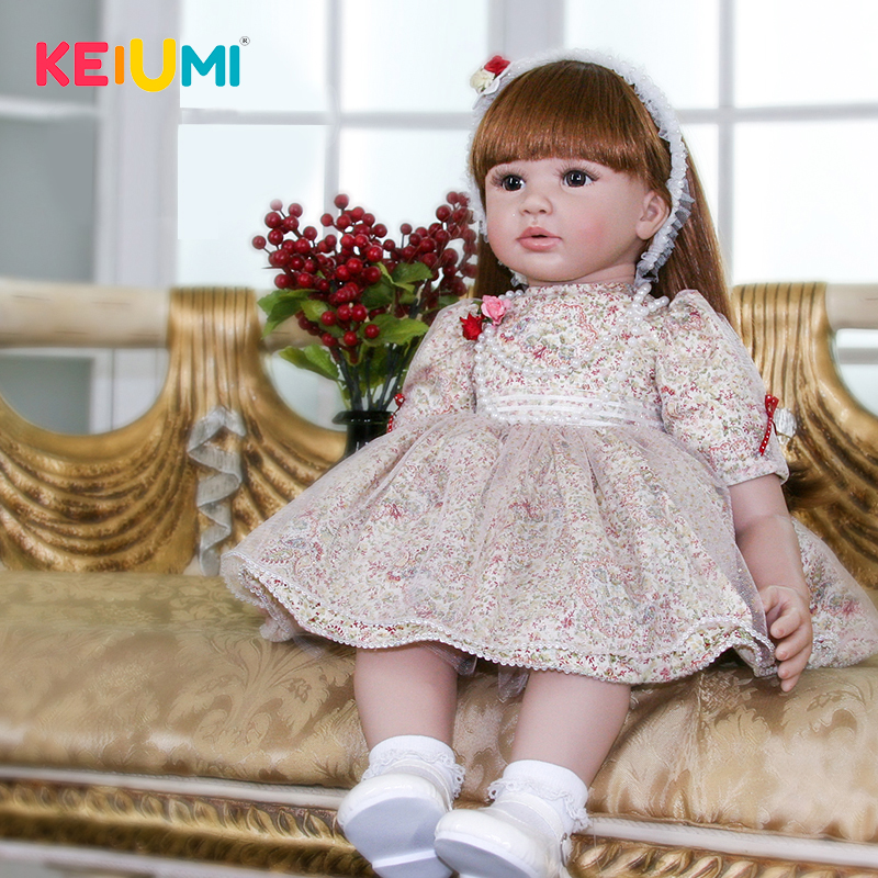 Lifelike 24 Inch 60cm Silicone Reborn Baby Dolls Realistic Princess Girl Ethnic Doll Toys For Kids Christmas Gifts Best Playmate