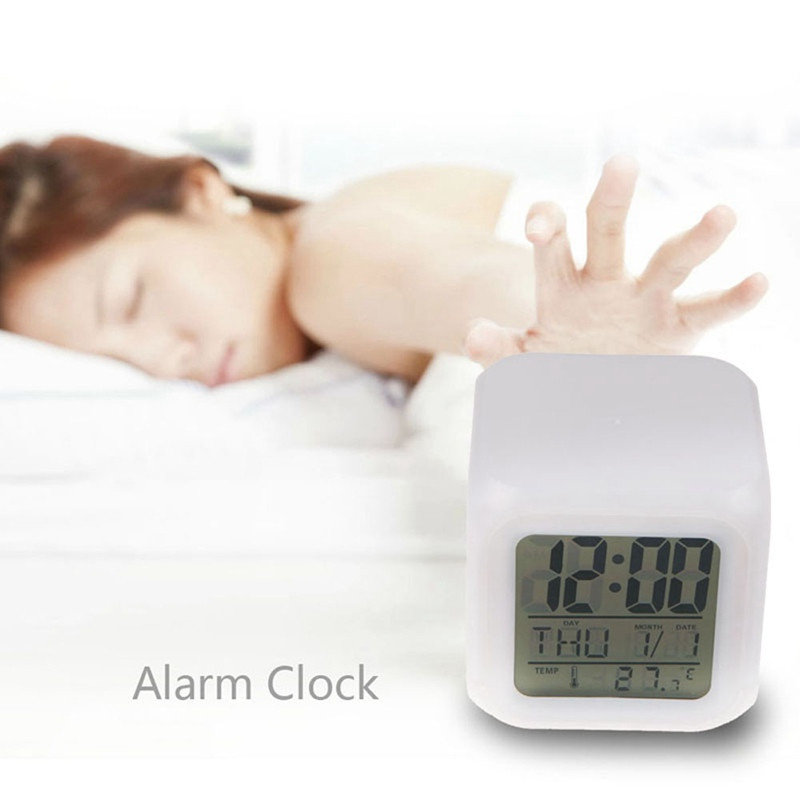 Child Snooze 7 Color Glowing Change Digital Alarm Clock LED Watch Glowing Alarm Thermometer Clock CubeMulti-function Cartoo
