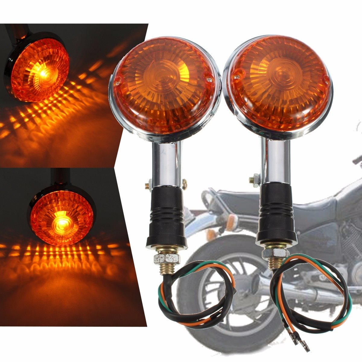 2pcs Amber Lens Motorcycle Turn Signal Indicator Light Front Rear Flasher Blinker Light For Yamaha Virago Maxim V-Max maxim 15