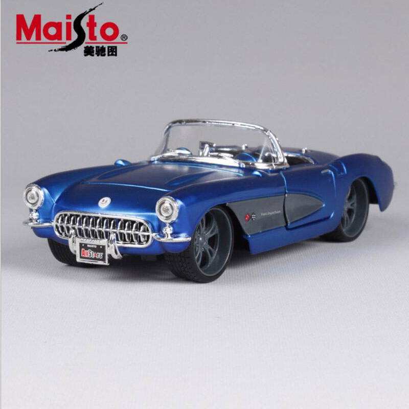 124 scale quality 1957 chevrolet corvette old metal diecast race vintage collection display model mini cars toys gift for kids