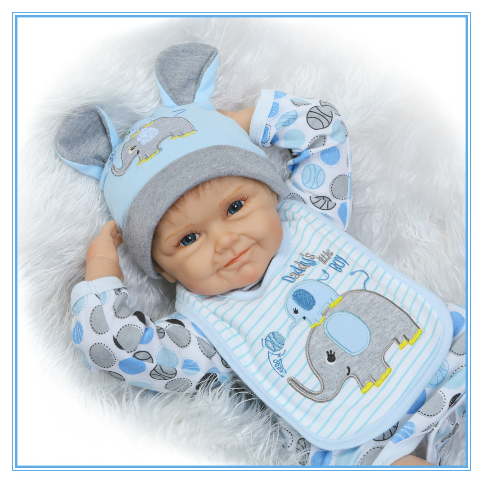 22 55cm  Reborn Baby Silicone Vinyl Doll Newborn Babies Happy Dolls Real Soft Gentle Touch for Children Playmate