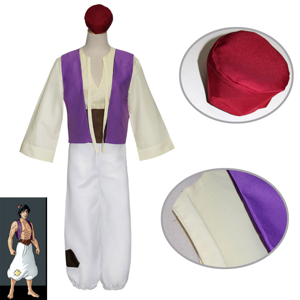(5 pieces ) 2017 Aladdin Magic Lamp Prince Aladdin cosplay Costumes Classic Prom suits for men adults