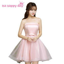 Светло-розовый милый сестра невесты Дешевые без бретелек невесты платья для красивых подружек невесты корсет для вечеринки платья под 50 H3822