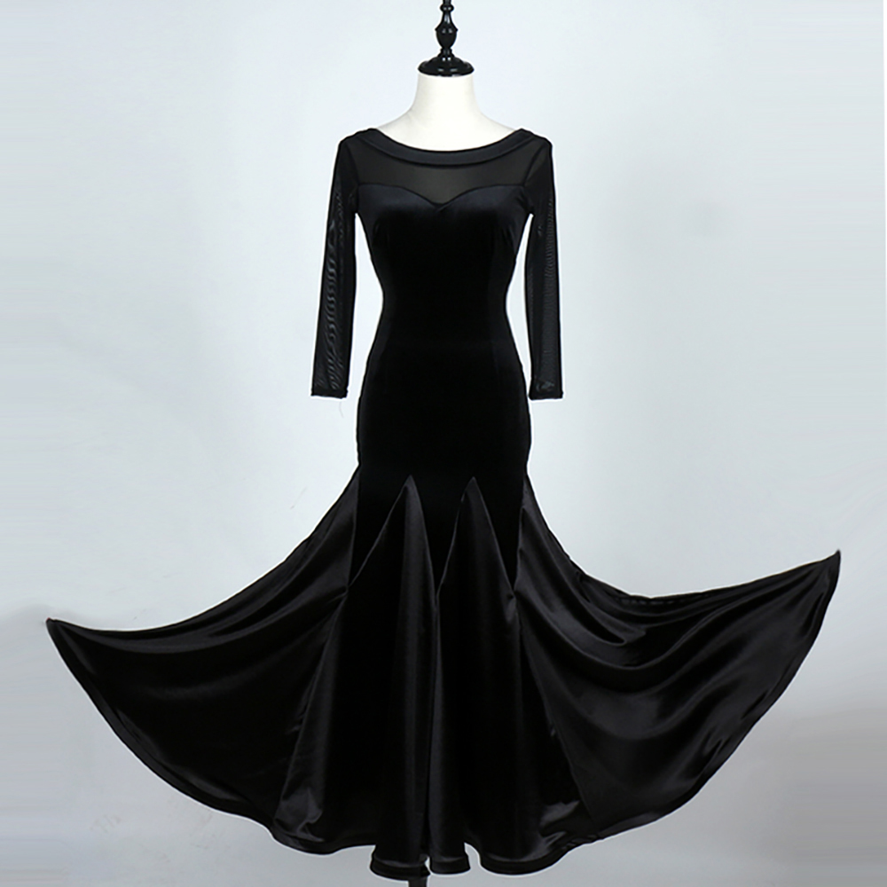 Picture of Classical Latin Dancing Dress For Ladies Black Color Velvet Backless Skirts 2018 New Woman Square Flamenco Ballroom Dress Q11084