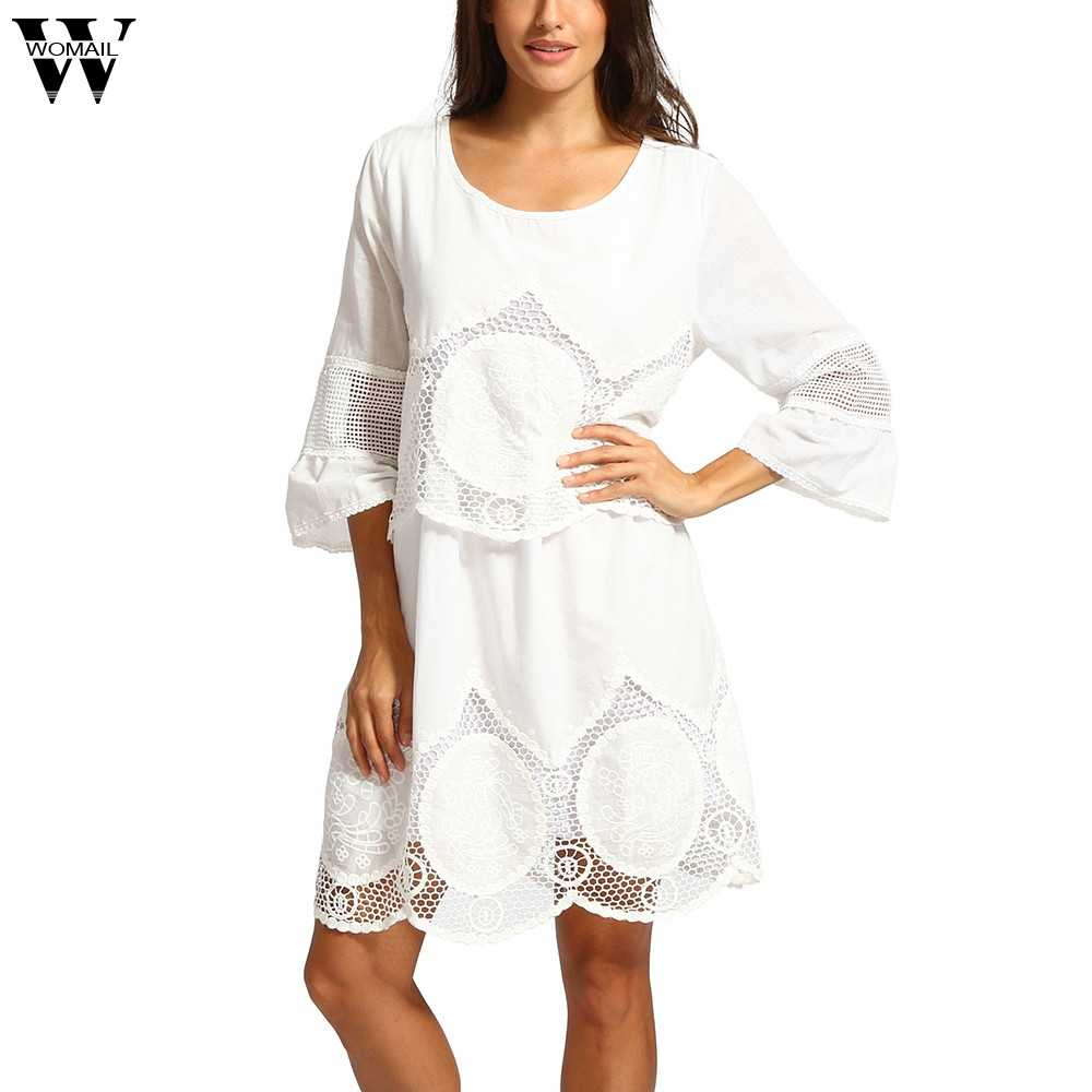 Womail jurk Zomer Vrouwen Plus Size Wit Kant Borduurwerk Holle-out Ronde Hals Boho Strand Losse S-L6 Nieuwe 2019 m11