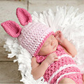 Newborn Baby Girl Piglet Beanie Hat with Cocoon Costume Set Handmade Crochet Children Animal Outfit for Photography Prop H026