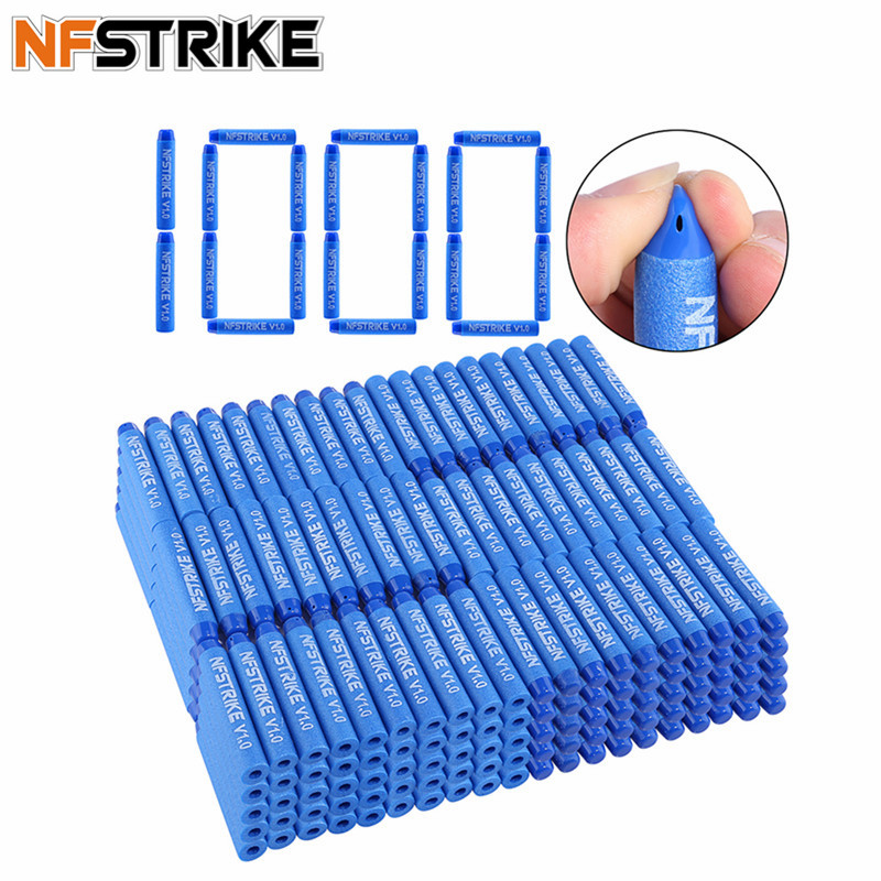 100pcs/ 500PCS/ 1000pcs NFSTRIKE V1.0 Customized Soft Bullet For Nerf Elite Series Toy Gun Part 7.2*1.3CM Bullets -Blue