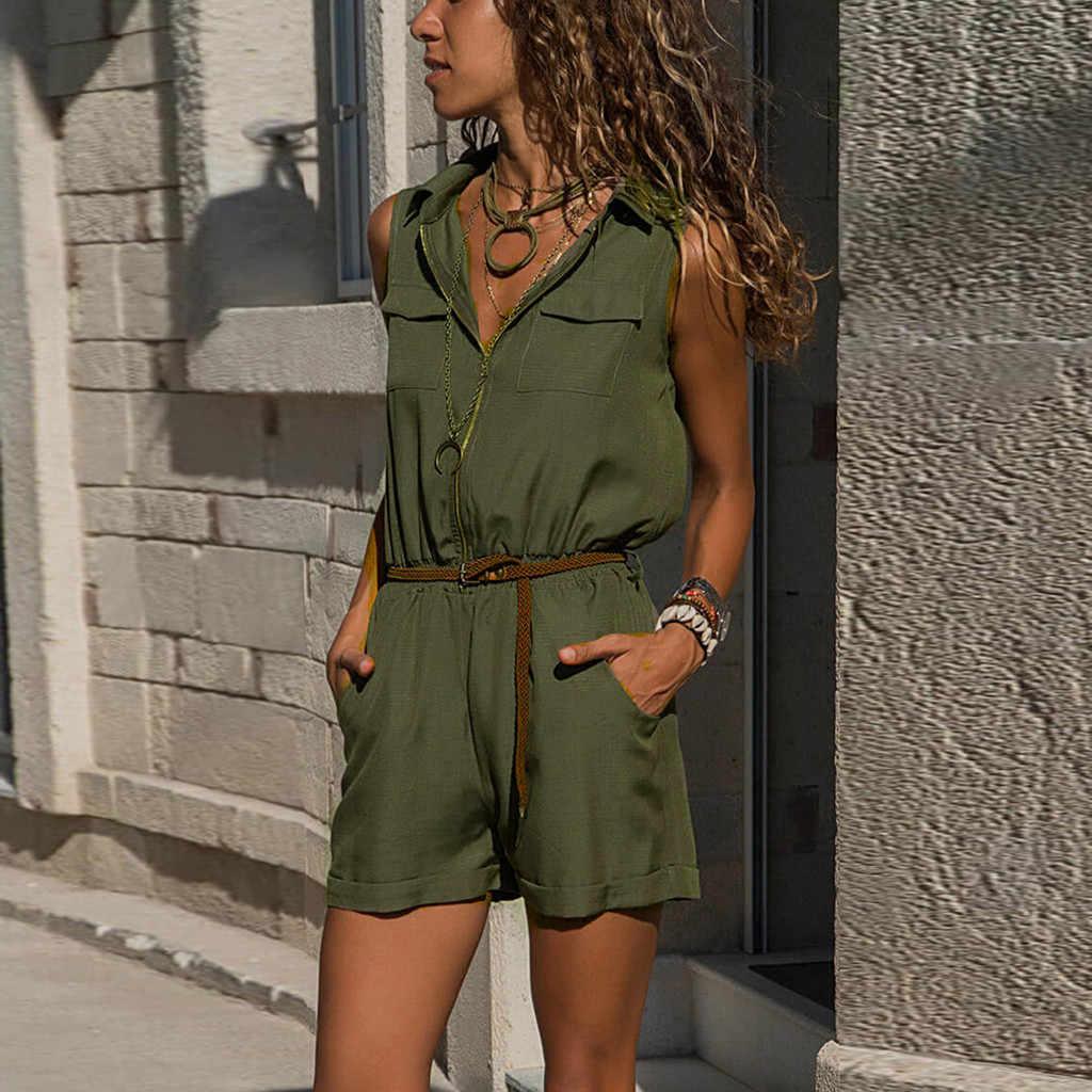 Sommer Frauen Kurze Overall Revers Tasten Body Plus Größe Overall Hohe Taille Lace Up Damen Einfarbig Ärmellose Overall