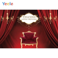Yeele Red Curtain Chair Chandelier Girl Birthday Party Photography Backdrops Children Photographic Backgrounds For Photo Studio