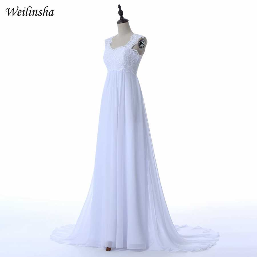 Weilinsha Cheap Stock Wedding Dresses Custom Plus Size Applique Chiffon Beach Bridal Gowns Pregnant Robe De Mariage