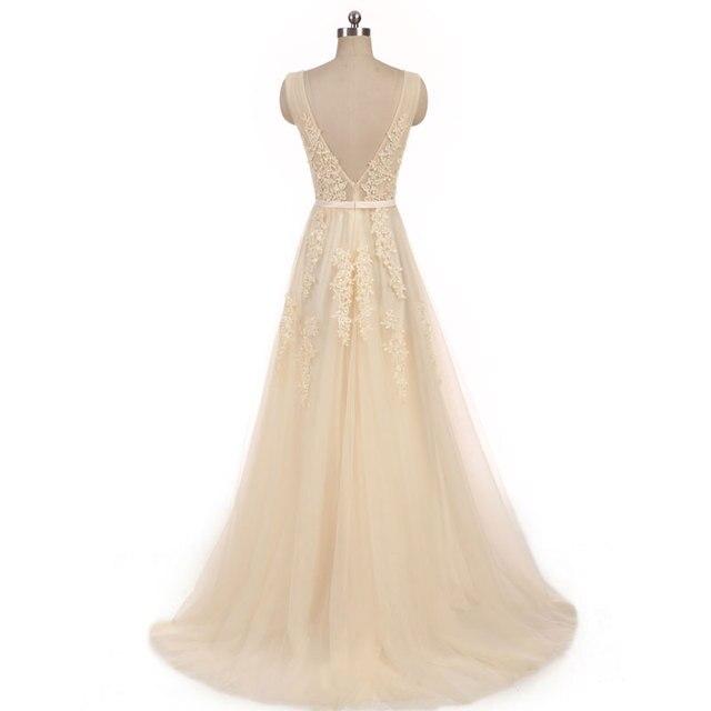 New arrival elegant champagne  wedding dress Vestido de Festa appliques zipper A-line dress sweep train bow dress lace style 2