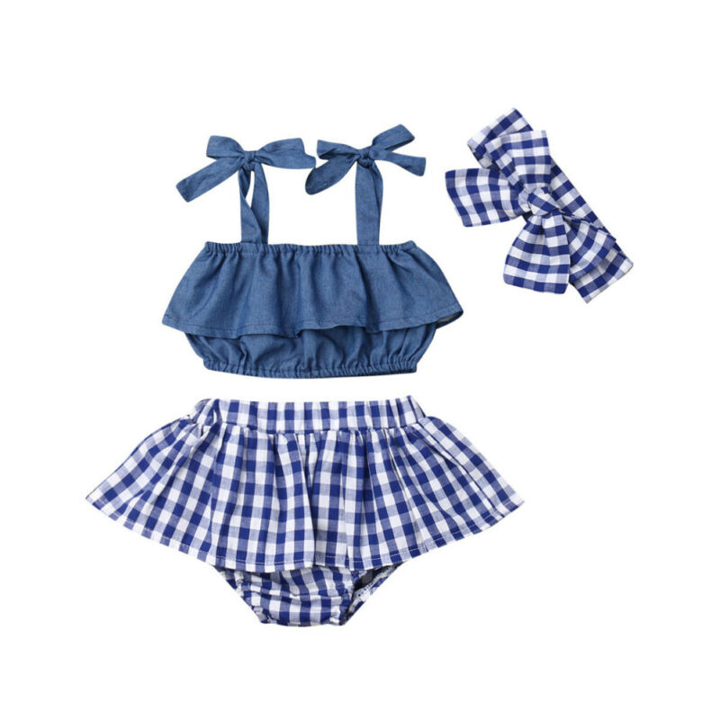 Fashion Baby Girls Summer Clothes Set Casual Infant Baby Girl Clothes Sleeveless Ruffle Sling Vest Tops+Plaid Shorts 3Pcs Outfit