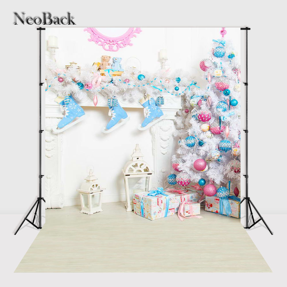 NeoBack 3x5ft 5x7ft New born baby Christmas Tree Gifts Vinyl Cloth Photo background vintage holiday Photographic backdrop P1150