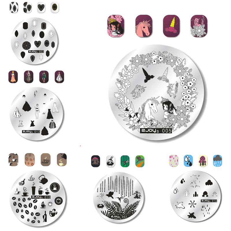 Welcome Spring Lovely Round Stamping Plate Floral Sexy Girls Clothes Pattern Manicure Nail Image 5.5cm Template Tool