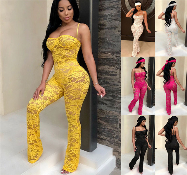 Lace Jumpsuit New Fashion Rompers Womens Jumpsuits Clubwear Playsuit Hollow Out Party Chiffon Outweaer Clothes 1