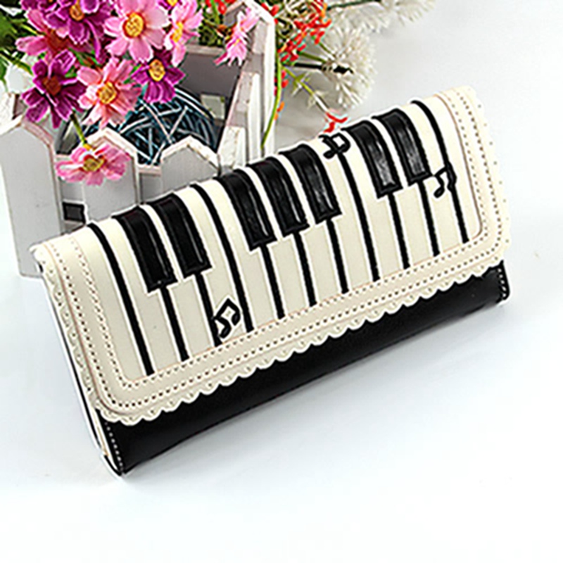 New Fashion Women Lady Synthetic Leather Purse Wallet Long Section Holder Handbag Musical Note Hasp Standard Wallet Specail casual weaving design card holder handbag hasp wallet for women