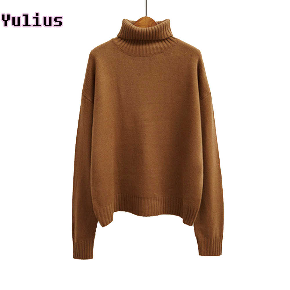 2019 Korean Autumn and Winter Women Sweater Long Sleeve Turtleneck Knitted Pullover Brown Green Loose Solid Female Jumper Tops