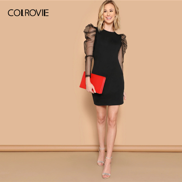 COLROVIE Black Mesh Gigot Long Sleeve Sheer Bodycon Elegant Dress Women 2019 Spring Slim Fit Mini Party Office Ladies Dresses 4