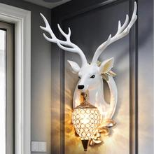 new European style wall dining room retro background hanging deer head antlers Scandinavia artesanato statue escultura