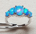 Popular Blue Fire Opal Rings Jewelry for Anniversary