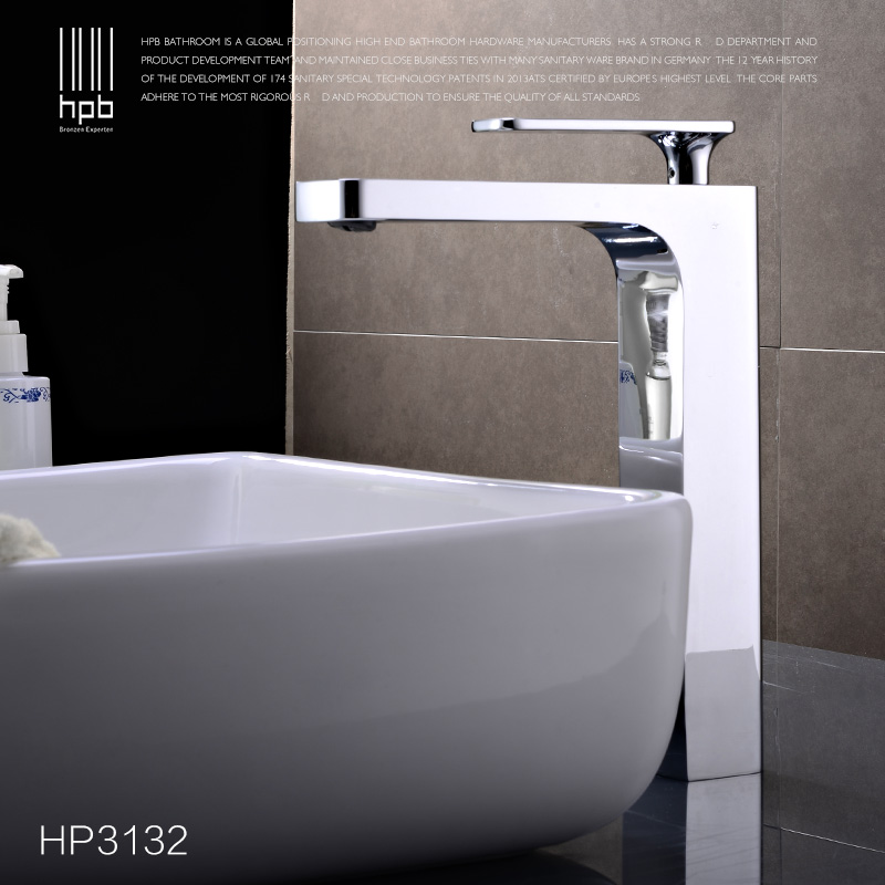 HPB New arrival Brass Tall Hot and Cold Water Basin Faucet Bathroom Mixer Tap torneiras HP3132 hpb square style tall basin faucet water tap chrome finished bathroom sink mixer single handle hot and cold hp3132