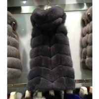Classic Real Fox Fur vest With Hood , 90cm X LONG ladies genuine fox fur vest , luxury real fur waistcoat