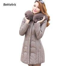 2017 Nova XL-6XL mulheres inverno casaco de couro para baixo casaco feminino grande gola de pele com capuz parka de médio-longo vestuário mãe B602