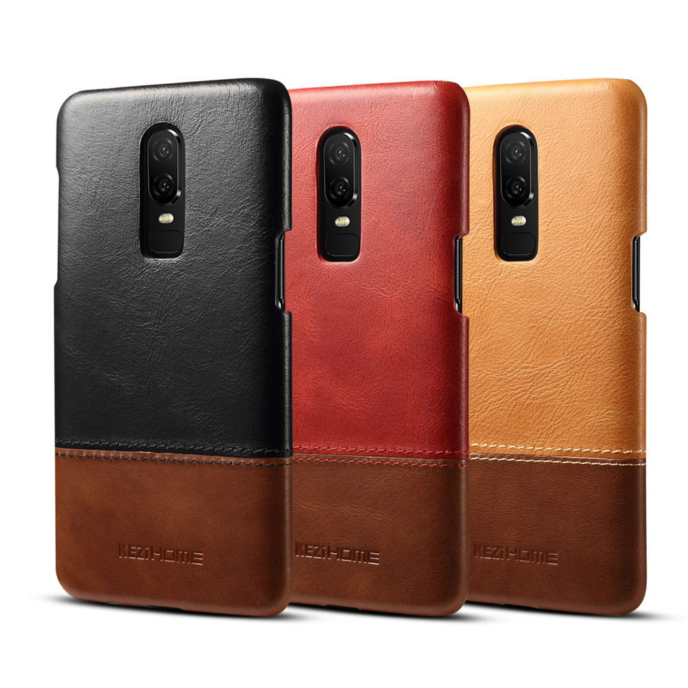 Ultra thin vintage genuine leather case For oneplus 6 back cover phone bumper oneplus6 protective shell