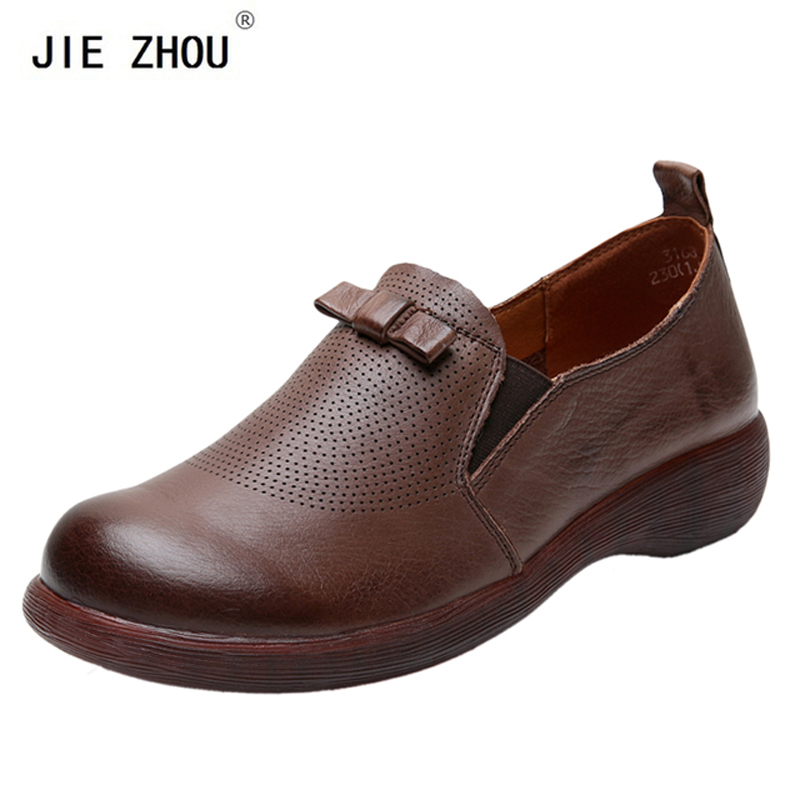 Retro Flat Shoes Handmade Women Shoes Fashion Genuine Leather Shoes Woman Solid Color Slip On Loafers