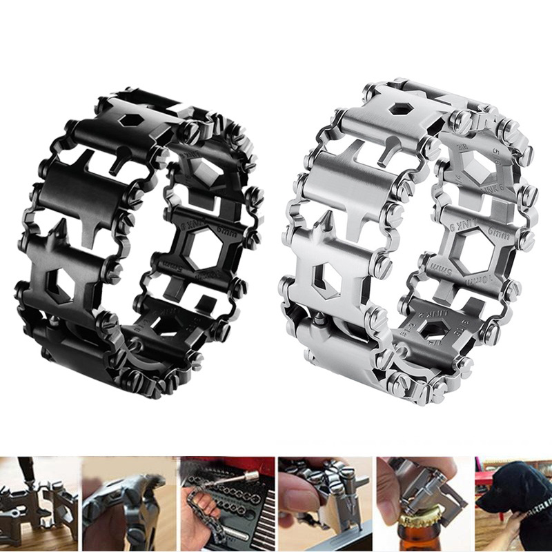Outdoors Men & Women Bracelets Stainless Steel Bracelet Link Design Multi-Function Hiking Camping Survival Outdoor EDC Tools military nylon stainless steel survival paracord bracelet khaki