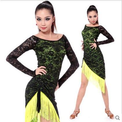 Vêtements de danse latine sexy glace jupe manches longues top + dentelle gland jupe 2 pcs femmes latine de danse ensemble