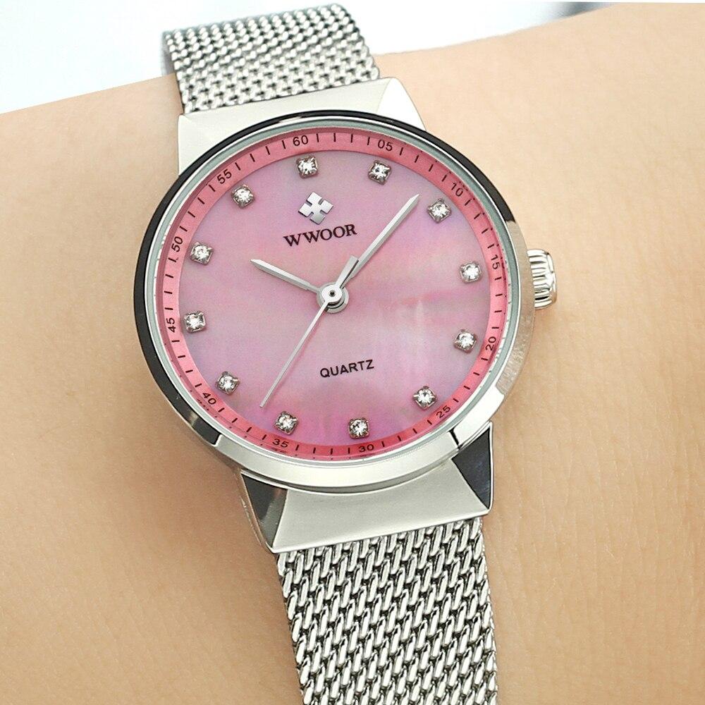 Wwoor новый простой моды кварцевые часы Для женщин Часы Дамы бренд роскошных бриллиантов Повседневное наручные женские часы Водонепроницаем...