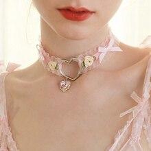 Harajuku Soft Lolita Girl Heart Handmade Bow Rose Retro Necklace Accessories