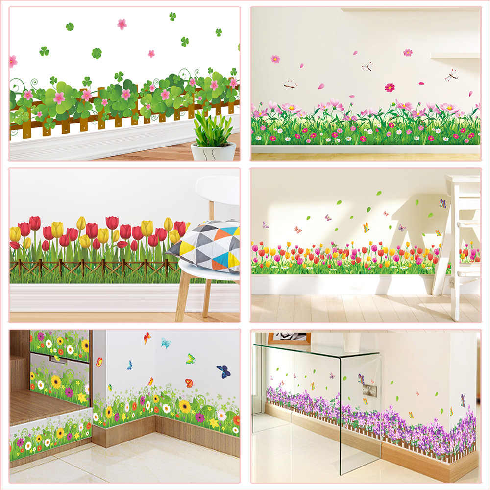 Pastoral Flowers Grass Fence With Butterfly Wall Stickers For Office Shop Bedroom Baseboard Home Decoration Pvc Decals Mural Art Wall Stickers Aliexpress