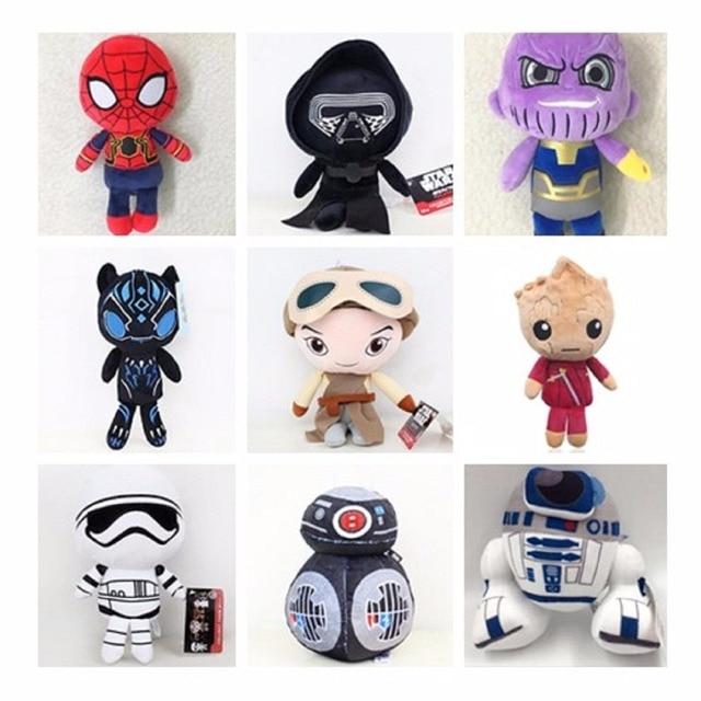 20 cm Thanos Deadpool Marvel Os Vingadores Homem de Ferro Brinquedos De Pelúcia Brinquedos Super hero Spiderman Stuffed Plush Doll Brinquedo Macio para o presente Dos Miúdos