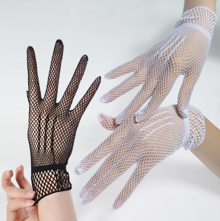 Women's Spring Summer Lace Gloves Lady's Sexy Mesh Gloves Sexy Black White Gloves R010