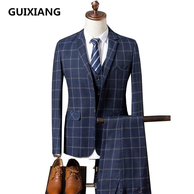 Mariage Costumes D'affaires Costume ardoisé Qualité 2017 Livraison Pantalon Bande Hommes Automne veste Gratuite Bleu Casual Haute Gilet De xn0fwqPU7
