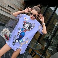 Womens Tshirts Betty Sequined T shirt Long Loose Short Sleeve Hollow Out Flower Nail Bead Spliced Female Harajuku Tee Shirt