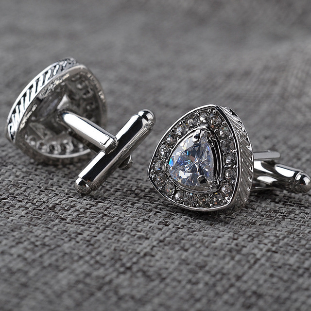 Top Color Luxury Zircon Cufflinks High Golden Silver Planted Men's Wedding Cuff Links
