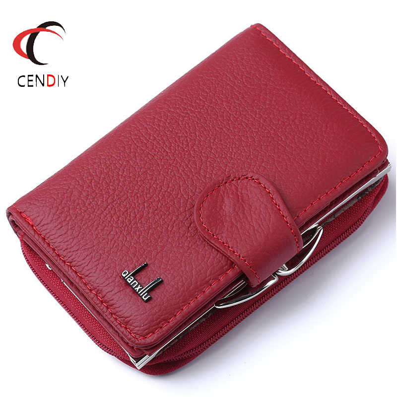 Fashion Women Wallets Cow Genuine Leather Female Coin Purse Nubuck Card Holder Cowhide Leather Wallet Women Small Zipper Wallet(China)