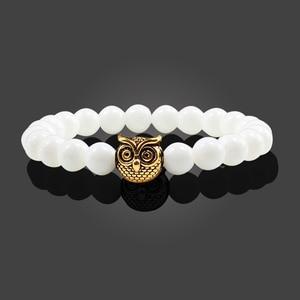 Image 3 - Classic Natural Stone Men Bracelet Matte Black Lava Volcanic Beads Charm Owl Strand Bracelets Women Prayer Jewelry