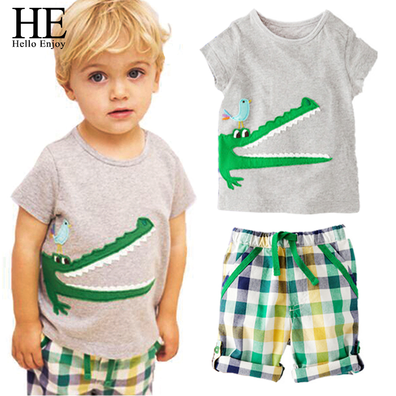HE Hello Enjoy Children Summer Boys Sets Casual Kids Clothes Baby Boys Clothing Animal Crocodile T-shirt+Plaid Shorts Boys Suits