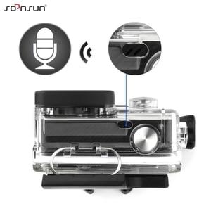 Image 4 - SOONSUN obudowa szkieletu obudowa boczna otwarta obudowa ochronna + zewnętrzny mikrofon kabel do GoPro Hero 3 3 + 4 do Go akcesoria pro