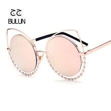 BULUN Fashion Cat Eye Sunglasses Hollow Metal Frame with Diamond Round Lens Colorful Sun Glasses Vintage