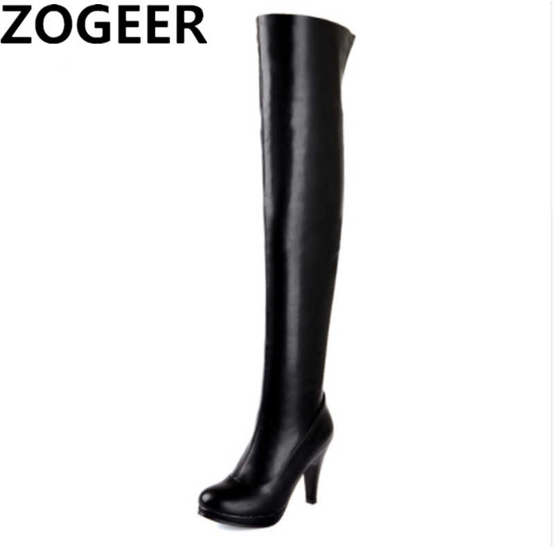 knee Boots Sexy Black Shoes Woman